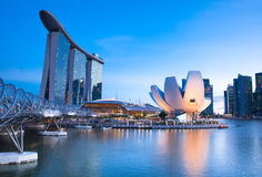 Singapore - July 10:  Marina Bay Sands Hotel, ArtScience Museum, Helix Bridge at July 10, 2013. Stock Photography