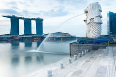 Singapore - July 17: Merlion fountain in the morning, July 17, 2013. Merlion fountain - the symbol of Singapore city in the early morning at July 17, 2013 Royalty Free Stock Image