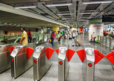 SINGAPORE - JULY 12, 2008: People on the subway. Underground sys Royalty Free Stock Photos