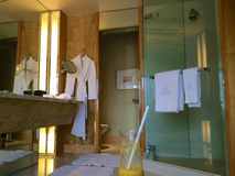 SINGAPORE - JULY 23rd, 2016: luxury Hotel room with modern interior, beautiful Large bathroom marble. SINGAPORE - JULY 23rd, 2016: luxury Hotel room with modern Royalty Free Stock Images
