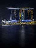 Refletion in the Singapore river of the ArtScience Museum and the Marina Bay Sands stock image