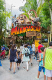 SINGAPORE - July 20 2015: Tourists and theme park visitors Attra. Ction in Universal Studios at Singapore in Sentosa island, Singapore Stock Photos