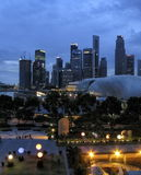 SINGAPORE - JULY 2007: View on the evening city of downtown, Royalty Free Stock Image