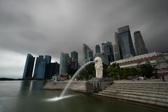 Singaporean symbol Merlion on early morning. stock image