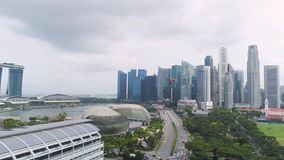 SINGAPORE - June, 2018: Aerial view of singapore down town area. Shot. Top view of skyscrapers in Singapore