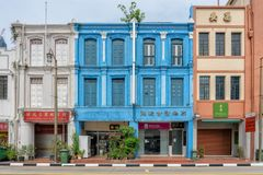Singapore - June 10, 2018: Colorful Shophouses in Chinatown with stock photo