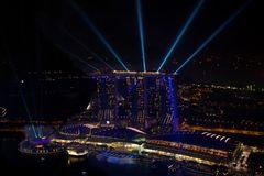 SINGAPORE June 18 2013 Light show at Singapore Marina Bay Sands Royalty Free Stock Images