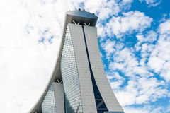 SINGAPORE - JUNE 18, 2014: Marina Bay Sands. The iconic design h Stock Image