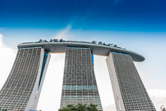 SINGAPORE - JUNE 19, 2014: Marina Bay Sands. The iconic design h Royalty Free Stock Images