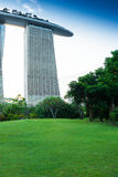 SINGAPORE - JUNE 19, 2014: Marina Bay Sands. The iconic design h Royalty Free Stock Image