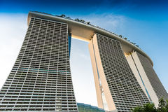 SINGAPORE - JUNE 19, 2014: Marina Bay Sands. The iconic design h Stock Image