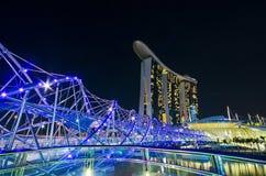 SINGAPORE - JUNE 27: The Marina Bay Sands resort and Helix Bridg Royalty Free Stock Image