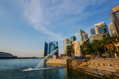 SINGAPORE - June 6 : Merlion park at dawn with sunrise scene Royalty Free Stock Photo