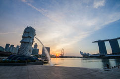 SINGAPORE - June 6 : Merlion park at dawn with sunrise scene in Royalty Free Stock Photo