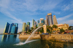 SINGAPORE - June 6 : Merlion park at dawn with sunrise scene in Royalty Free Stock Images