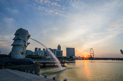 SINGAPORE - June 6 : Merlion park at dawn with sunrise scene in Stock Image