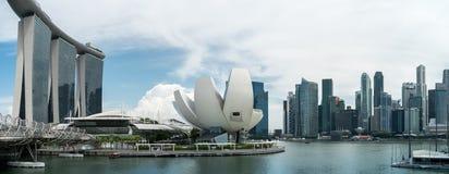 Panoramic view on Marina Bay stock photos