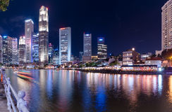 Singapore-JUNE  16,2016 : Singapore city skyline at night Royalty Free Stock Photography