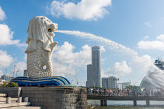 SINGAPORE - JUNE 20, 2014: Singapore landmark Merlion Royalty Free Stock Image