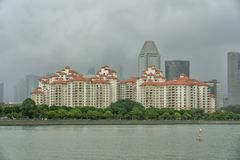 Singapore - Juni 18, 2018: Flat met waterfron Royalty-vrije Stock Afbeelding