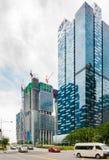 SINGAPORE - JUNI 18, 2016: Konstruktion av höghus arkivfoton