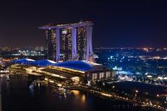 Singapore - Juni 6 2017: Marina Bay Sands lyxigt hotell och set arkivfoton