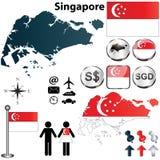 Singapore kartlägger stock illustrationer