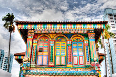 Singapore Landmark: Colorful building facade in Little India Royalty Free Stock Photos
