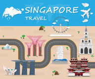 Singapore  Landmark Global Travel And Journey Infographic Vector. Design Template.vector illustration Stock Photos