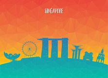 Singapore Landmark Global Travel And Journey paper background. V. Ector Design Template.used for your advertisement, book, banner, template, travel business or Stock Photography