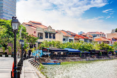 Singapore Landmark: HDR of Boat Quay on Singapore River Royalty Free Stock Photography