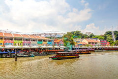 Singapore Landmark: HDR of Clarke Quay on Singapore River Stock Image