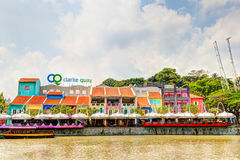 Singapore Landmark: HDR of Clarke Quay on Singapore River Stock Photos