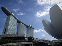 Singapore landmark. Marinabay by sand with designed exhibition building Royalty Free Stock Images