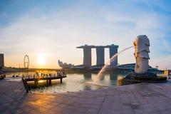 Singapore landmark Merlion. With sunrise Royalty Free Stock Images