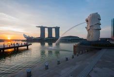 Singapore landmark Merlion. With sunrise Royalty Free Stock Photo