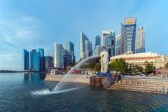 Singapore landmark Merlion. With sunrise Stock Photos