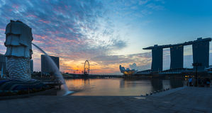 Singapore landmark Merlion with sunrise Royalty Free Stock Image