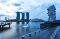 Singapore landmark Merlion with sunrise Royalty Free Stock Photo