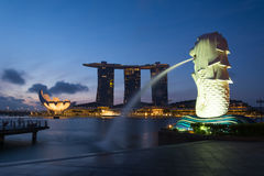 Singapore landmark Merlion Stock Photos