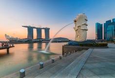 Singapore landmark Merlion. With sunrise Royalty Free Stock Photography