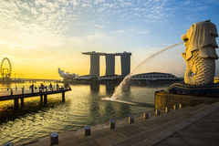Singapore landmark Merlion with sunrise royalty free stock photography