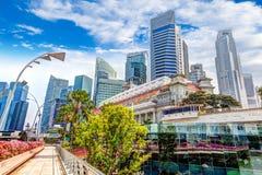 Singapore Landmark Skyline at Fullerton on Esplanade Bridge stock images