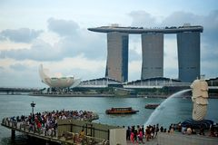 Singapore landmarks. Tourism too important for the city Stock Photography