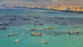 Singapore. Landscape from bird view of Cargo ships entering one of the busiest ports in the world, Singapore Royalty Free Stock Photography