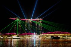 SINGAPORE - The laser show at the Marina Bay Sands royalty free stock images