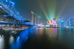 Singapore. Laser show at singapore at night Stock Images