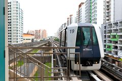 Singapore : Light Railway Transit (LRT). Singapore :A Light Railway Transit (LRT) train arriving at the station Stock Photo