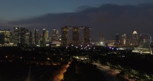 Singapore lights late at night. Aerial footage Singapore lights late at night stock video footage