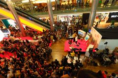 Singapore: Live show. Live show host by celebrity draw large crowd at Orchand Ion Royalty Free Stock Images